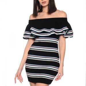 Endless Rose Fitted Off The Shoulder Knit Dress M